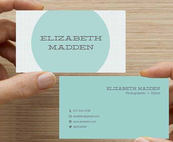 Business Card Graph Paper DesignMinimal Printable Custom
