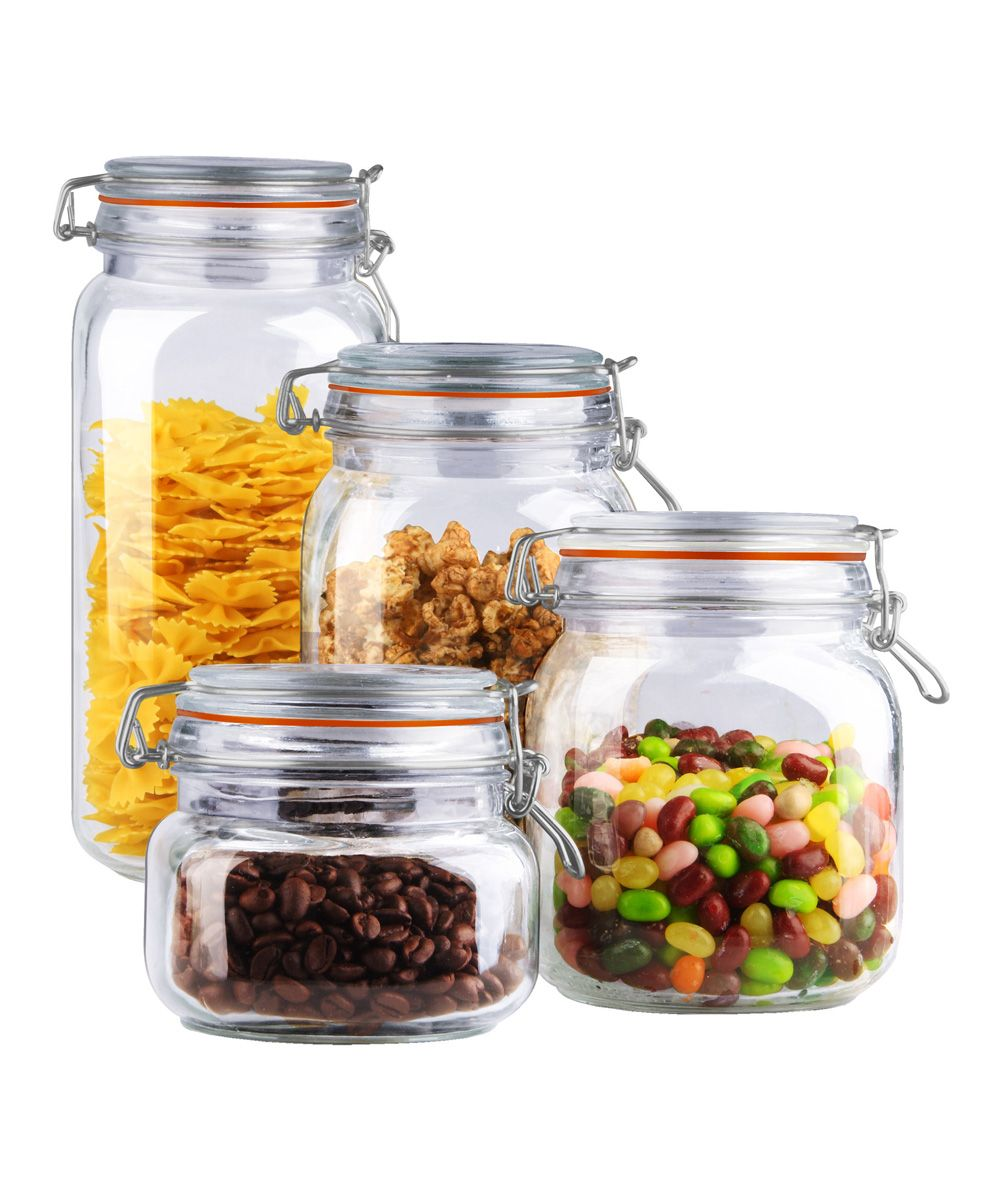 Kitchen canisters glass  Glass FourPiece Clamp Top Canister Set  Canister sets Clamp and