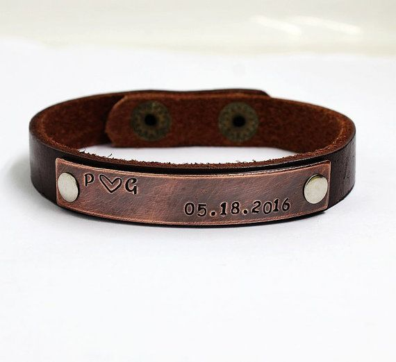 Custom Leather Bracelet Men Engraved For Cuff Father S Day Gift