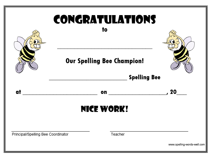 Free Spelling Bee Certificates Projects To Try Pinterest Bee