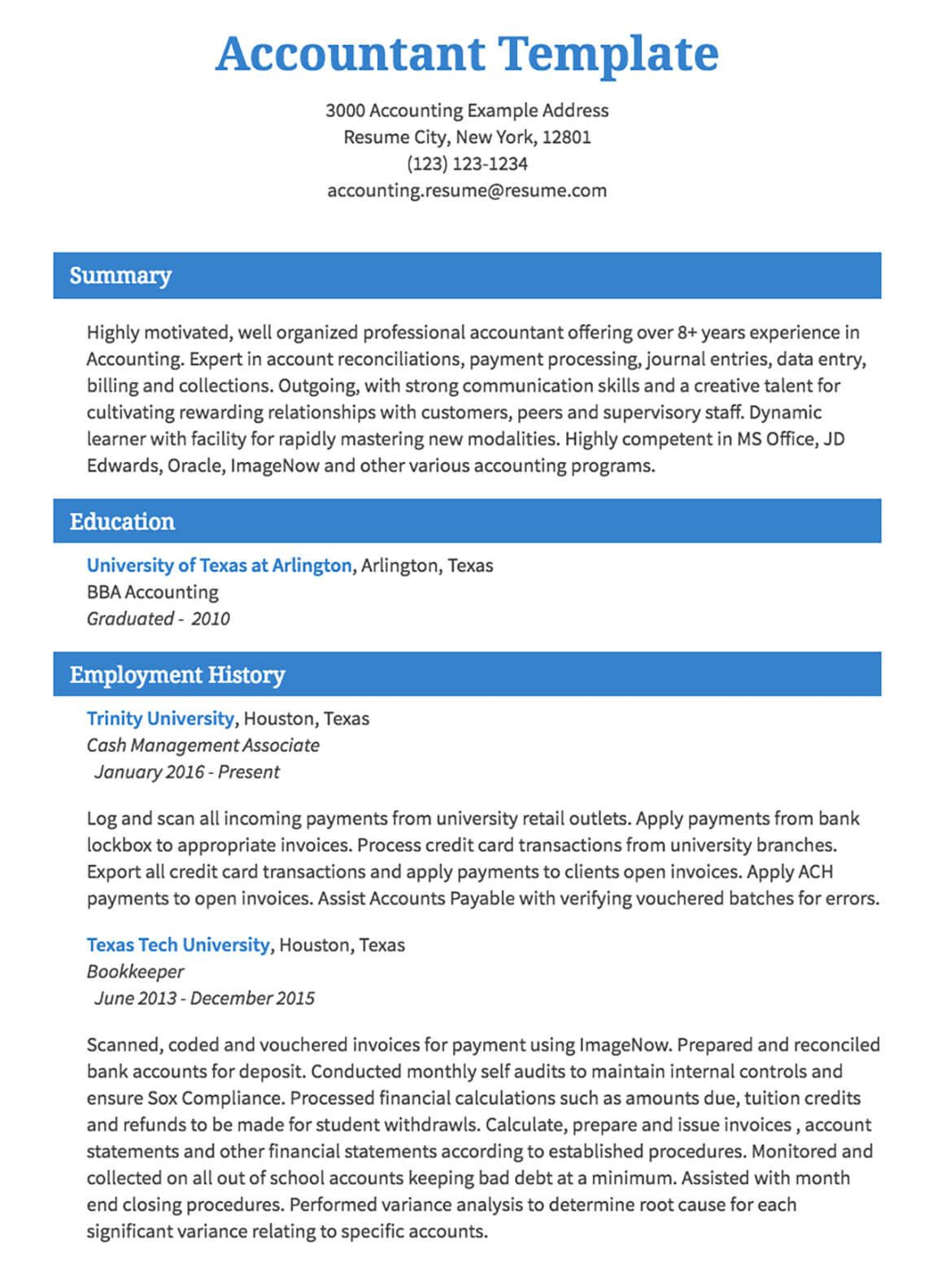 image of accounting resume sample How to be