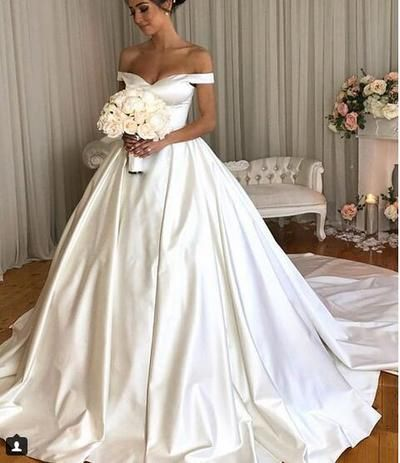Simple Ball Gown Wedding Dresses Off The Shoulder Sleeveless Bridal Gowns Off Shoulder Wedding Dress Wedding Dress Cap Sleeves Satin Wedding Gown