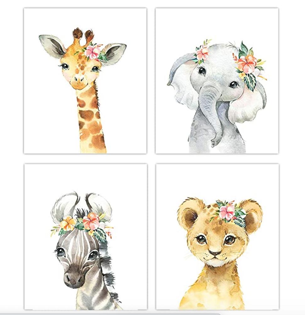 Little Baby Watercolor Animals Floral Crown Safari Prints Set Of 4 Unframed Nursery Decor Art Animal Nursery Decor Baby Animal Prints Animal Nursery