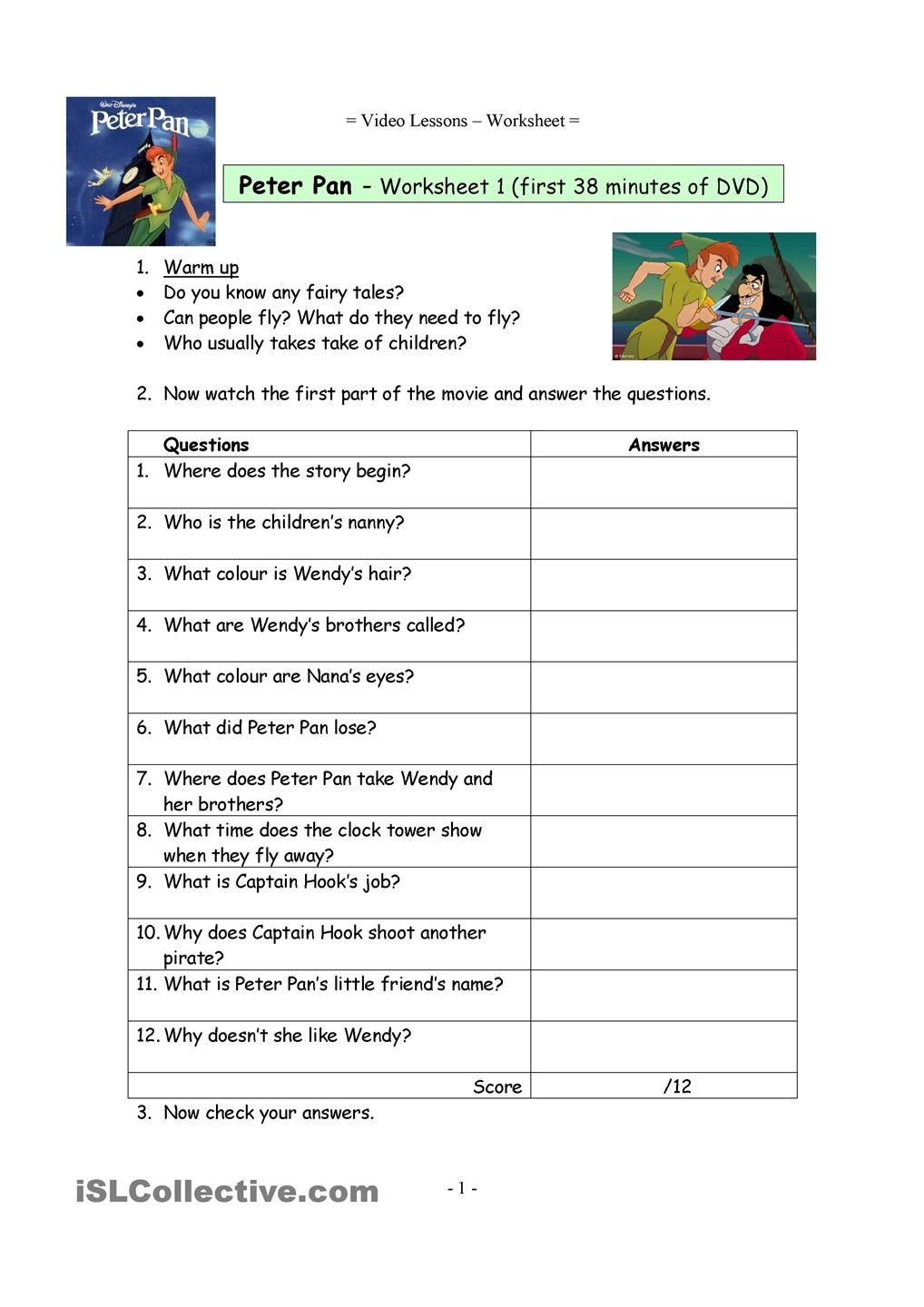 Video worksheets for the classic Disney movie Peter Pan ...