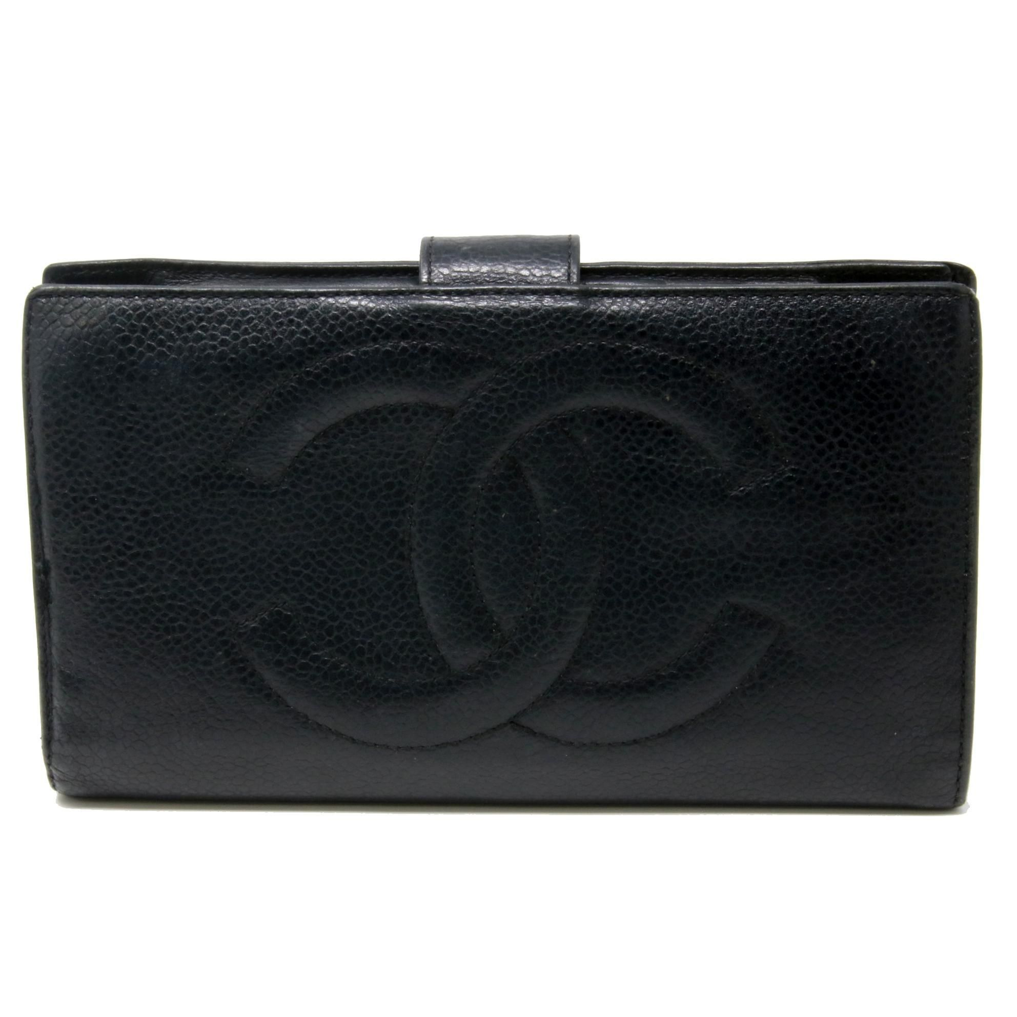 3b74f8a8 Chanel CC Logo Caviar Lambskin Leather Long Bifold Snap Black Wallet ...