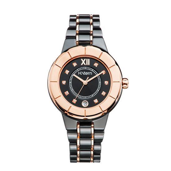 cbf4a06d18d Relógio feminino de cerâmica preta e aro rosé http   m.hstern.com.br ...