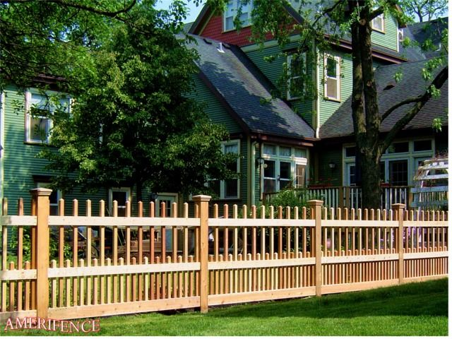 Staggered Picket Fence Wood Fence Fence Design Wood Fence Fence Styles