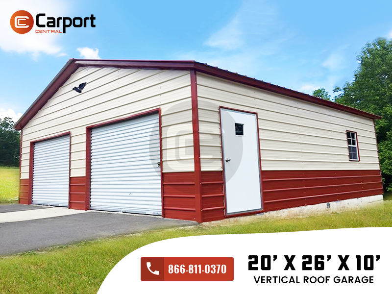 20x26x9 Vertical Roof Garage Two Car Garage Building For Sale Metal Buildings Carport Carport Garage