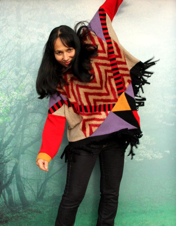 M-L Fall colors patchwork sweater poncho with hood by jamfashion
