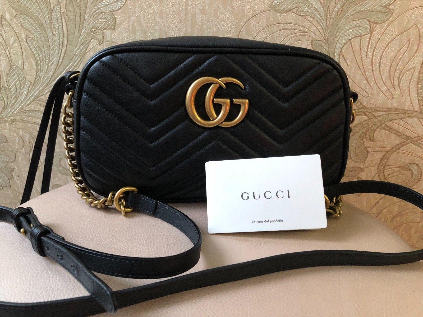 371ecb889f48 Gucci GG Marmont Matelassé Chevron Camera Black Bag Crossbody | eBay ...