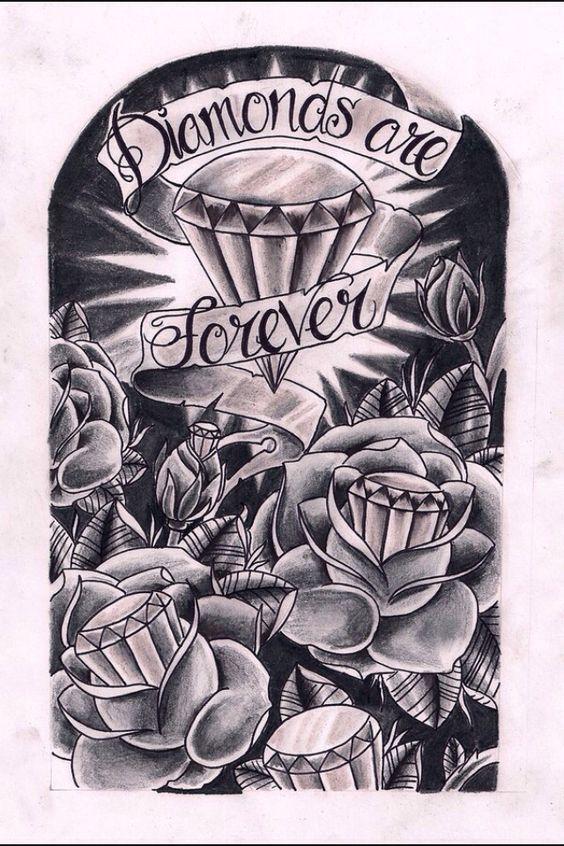 Resultado de imagen de tatuajes de diamantes y rosas