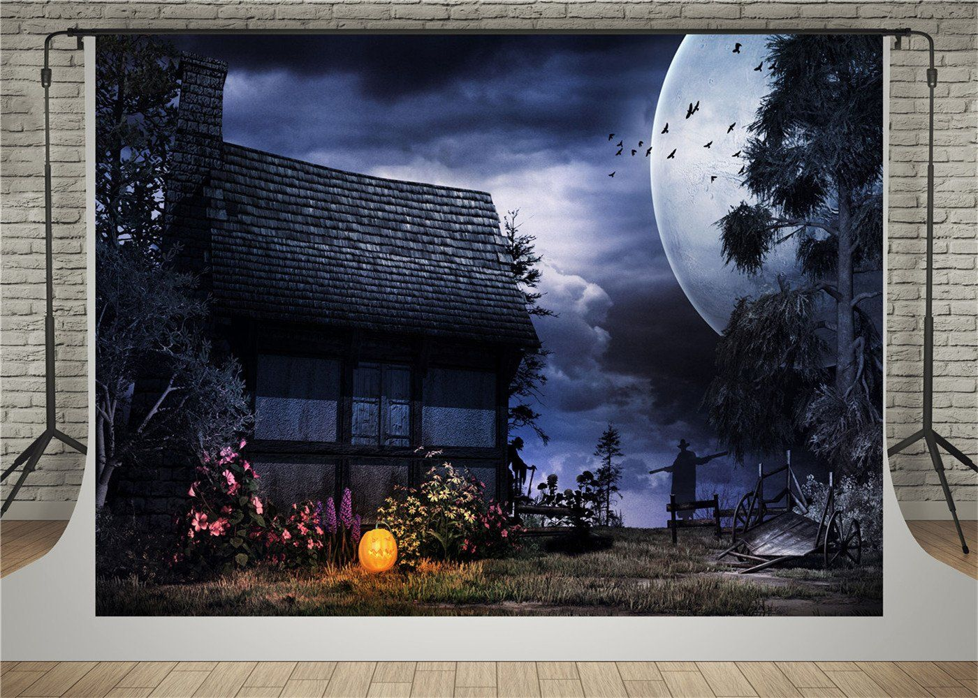 AIIKES 7x5ft Halloween Pumpkin Backdrop for Nightmare Before Moon Themed Photography Background Birthday Baby Shower Photo Backdrop Studio Pictures Party Home Decor Decoration 11-640