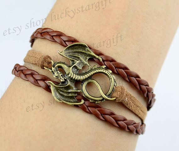 Bronze dragon bracelet in brown leather brown by luckystargift, $2.59