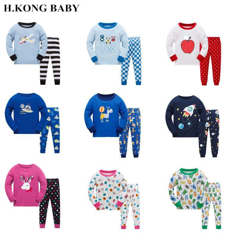 9f795ef8 H.kong baby kids pajamas set Children Cotton Underwear Suit Boys Fashion  casual Cartoon design sleepwear Girl home clothes
