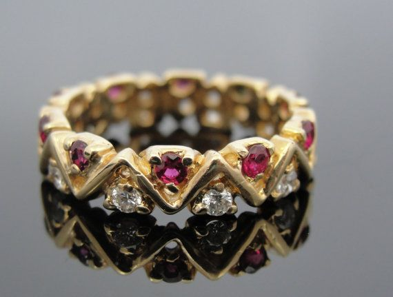 Unusual Modernist Ruby and Diamond Band for Wedding or Stacking