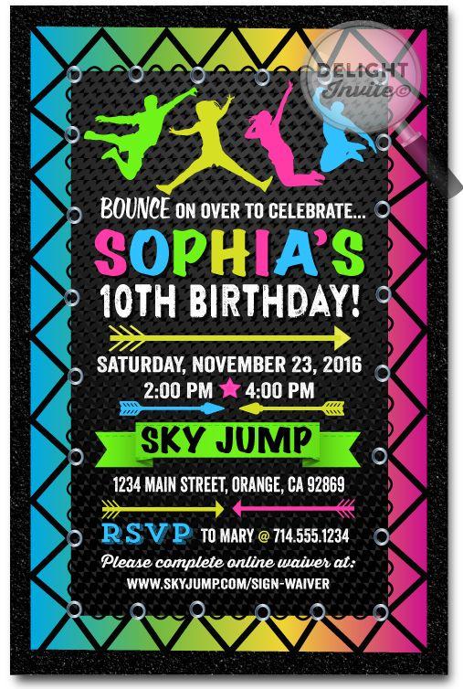 neon trampoline jump party birthday invitations kids parties
