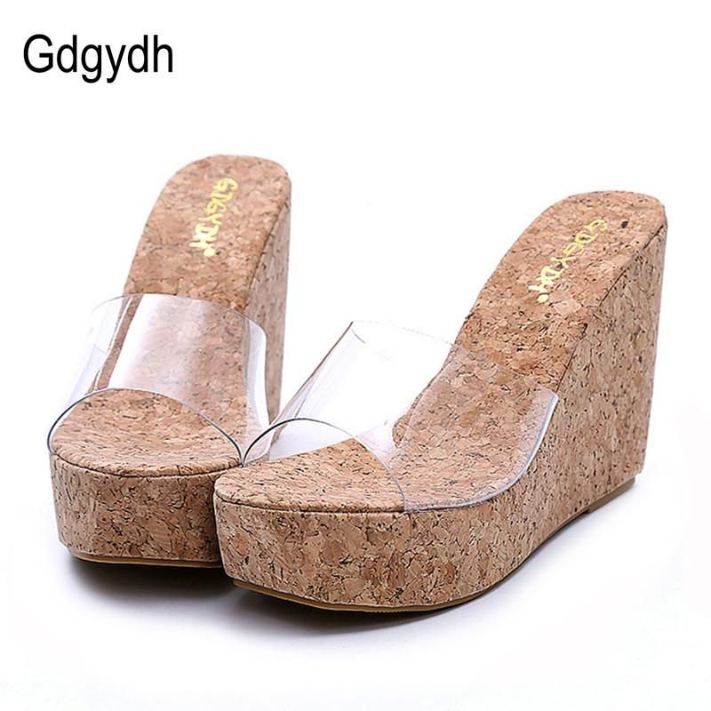 Gdgydh 2017 New Summer Transparent Platform Wedges Sandals Women Fashion High  Heels Female Summer Shoes 829db8d9b2f7