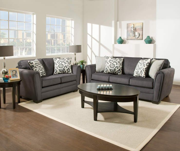 Home Furniture For Less: Buy A Simmons Flannel Charcoal Living Room Furniture