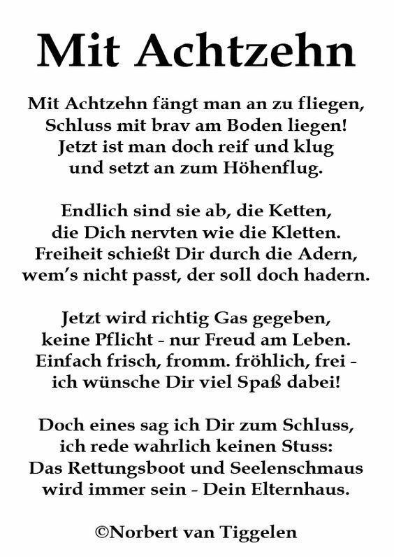 Gedicht Zum 18geburtstag Sprüche 18 Geburtstag Sprüche Sprüche