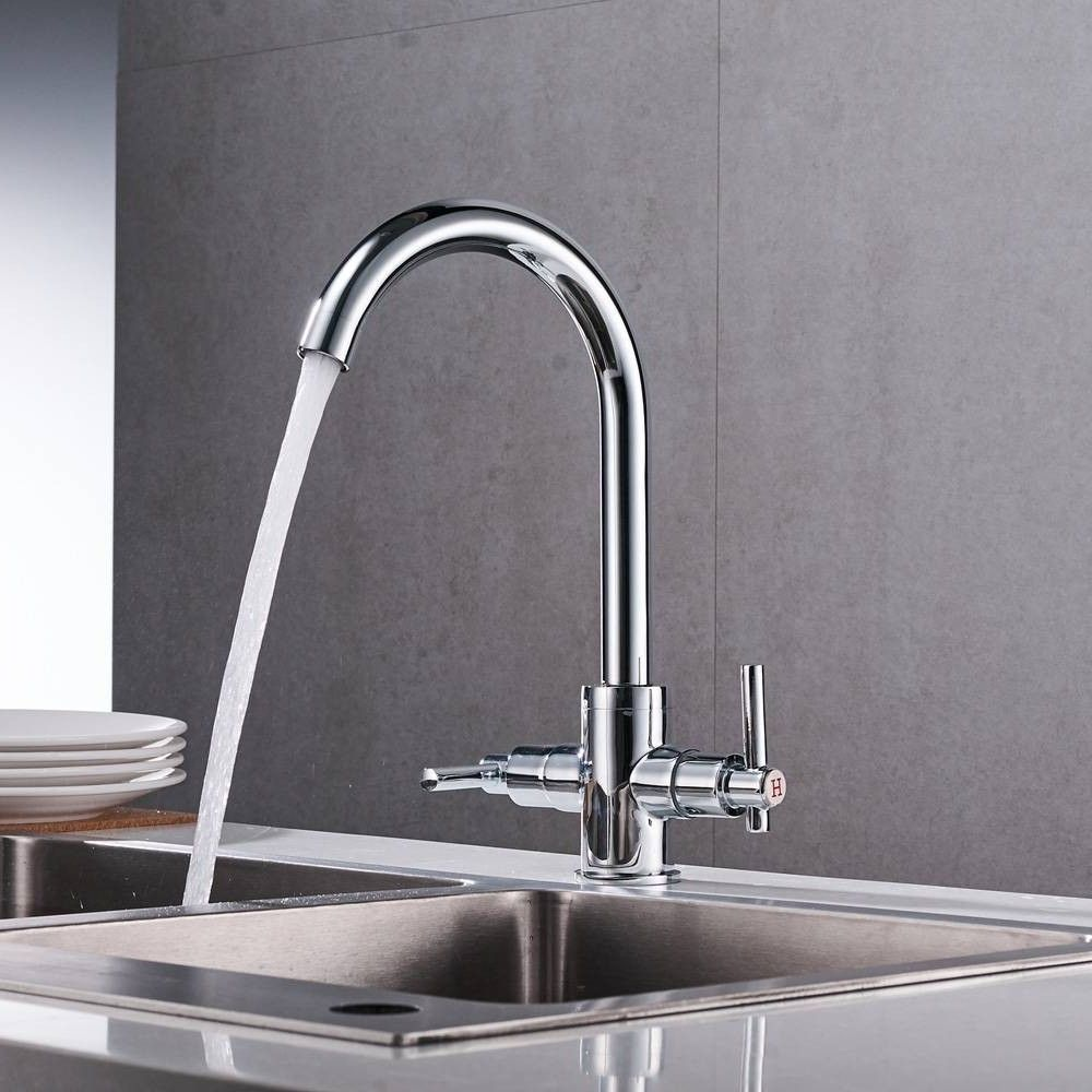 Chrome Color Kitchen Faucets Double Hands Round Bathroom Sinks