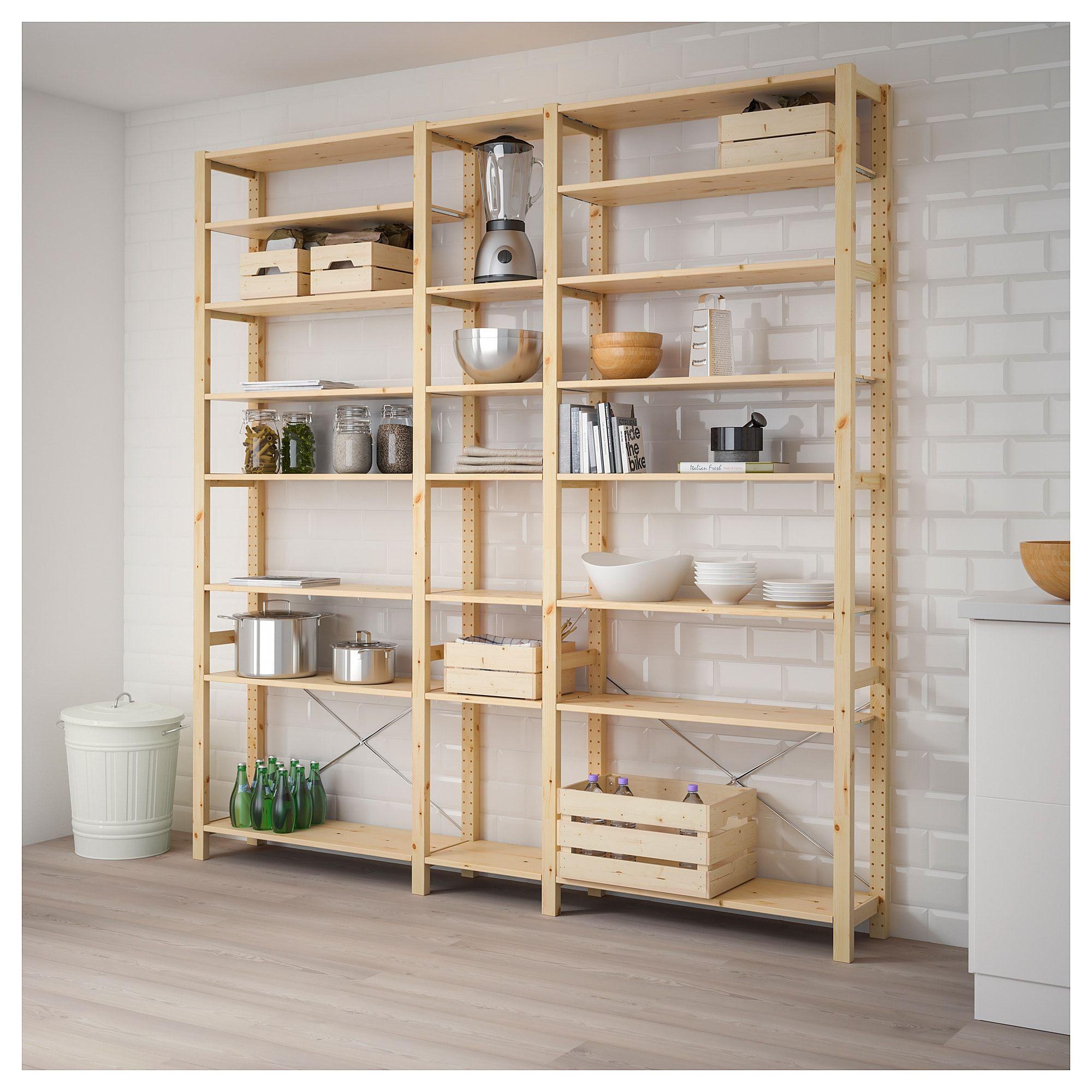 Ivar 3 Section Shelving Unit Pine 86 1 4x11 3 4x89 Shelving Unit Shelves Ikea