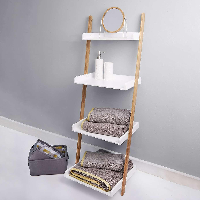 Stupendous Elements White Ladder Shelves Unit En Suite White Ladder Interior Design Ideas Clesiryabchikinfo