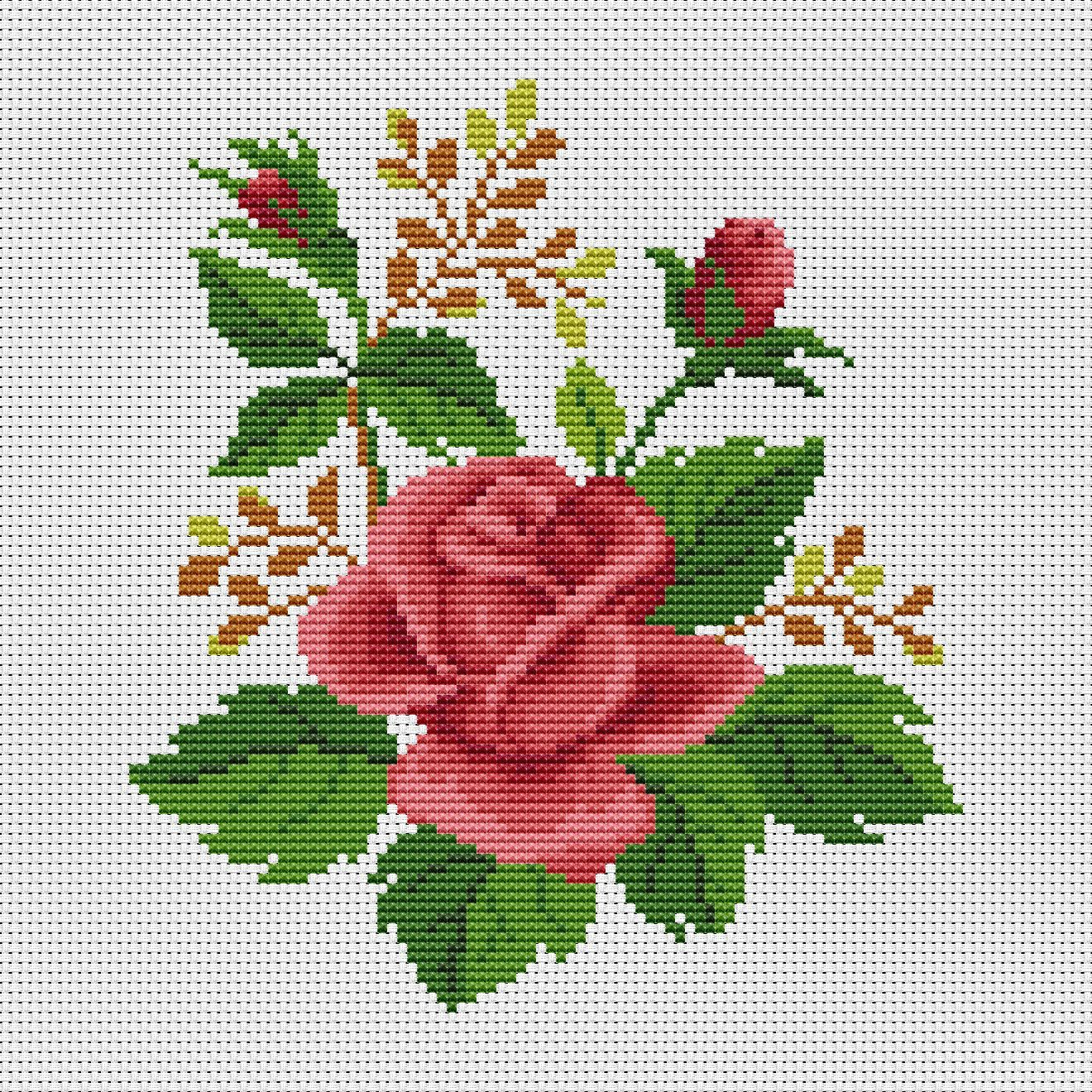 Letter B modern cross stitch pattern | Red roses cross stitch | Initial monogram cross stitch | Punto de cruz | Instant download PDF #863