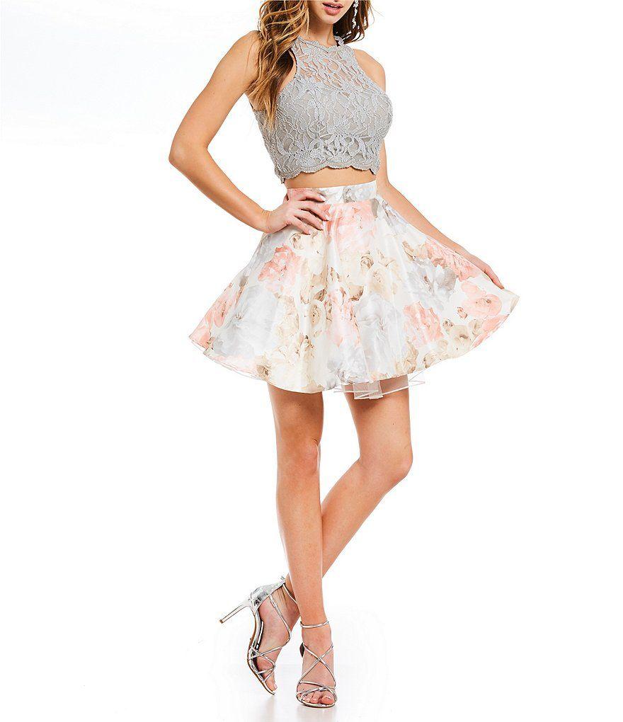 1b77b81e2b0 Jodi Kristopher Glitter Lace Top with Floral Skirt Two-Piece Dress ...