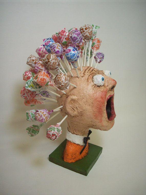 Primitive Paper Mache Folk Art Lollipop Man Knutselen