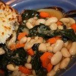Kale and White Bean Soup with Mozzarella Toasts