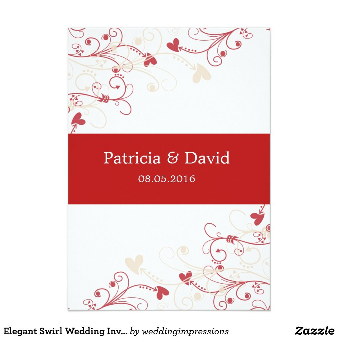 Elegant Swirl #weddinginvitations :Red And Ivory Cardwe | Wedding ...
