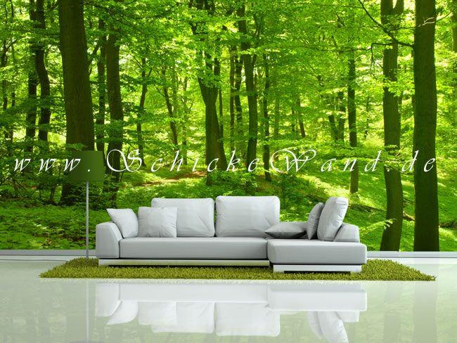 Stilvolle wanddekoration mit waldmotiv als fototapete im - Leinwandbilder wohnzimmer ...