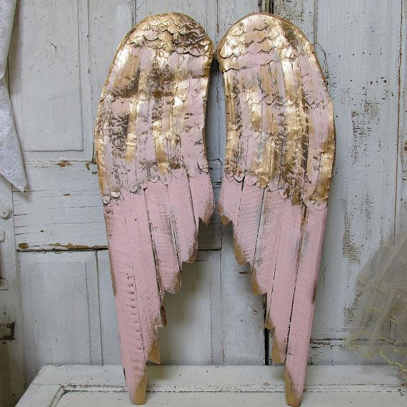 Metal Angel Wings Wall Decor large metal angel wings wall decor, distressed gold, ivory