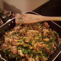 Brown basmati rice with mushrooms, scallions and spinach and seasoned with garlic and fresh parsley.