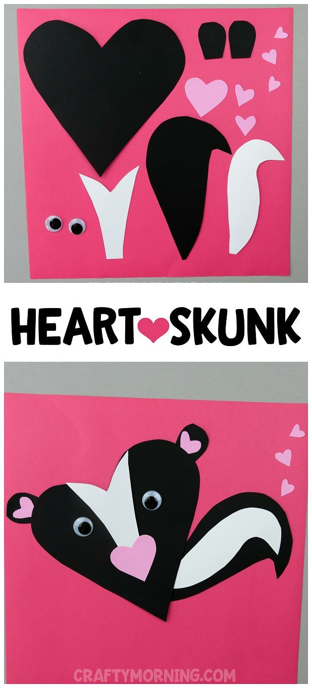 Heart Skunk Valentine Craft - cute heart shape animal craft for the kids to make on Valentine's Day!