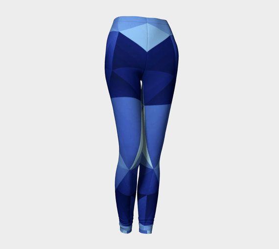 Blu Leggings geometriche allenamento elegante di DreamForestShop