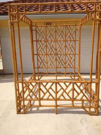 Vintage Faux Bamboo Chinese Chippendale Chinoiserie Rattan Palm Beach Hollywood Regency Mid Century Modern Canopy Bed Queen Headboard 2 900 00 Via Etsy