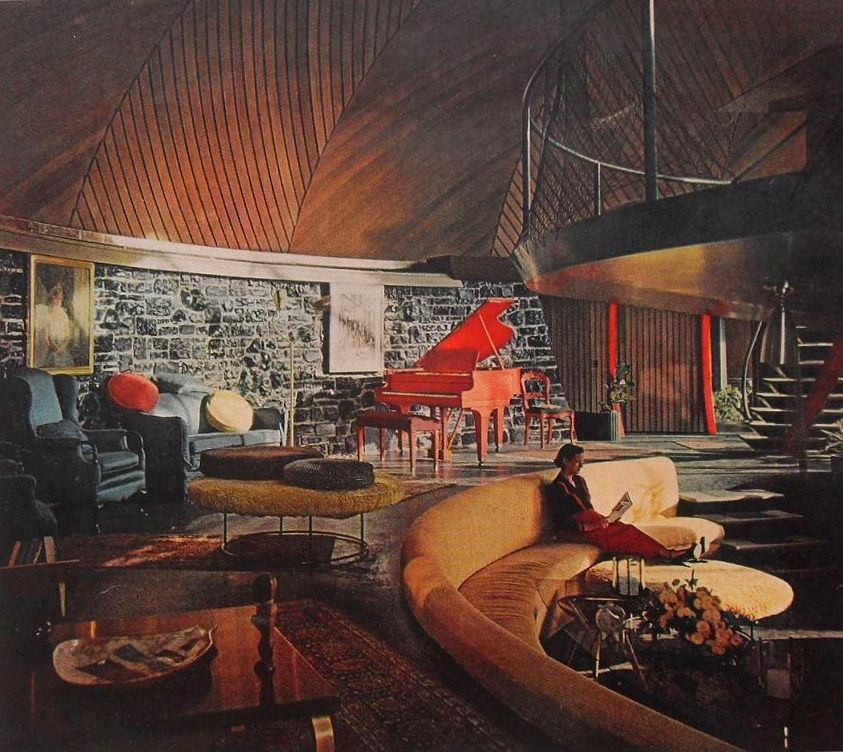 Mid Century Sunken Living Room: 1950s Photo Of GOFF HOUSE Interior Round Circular