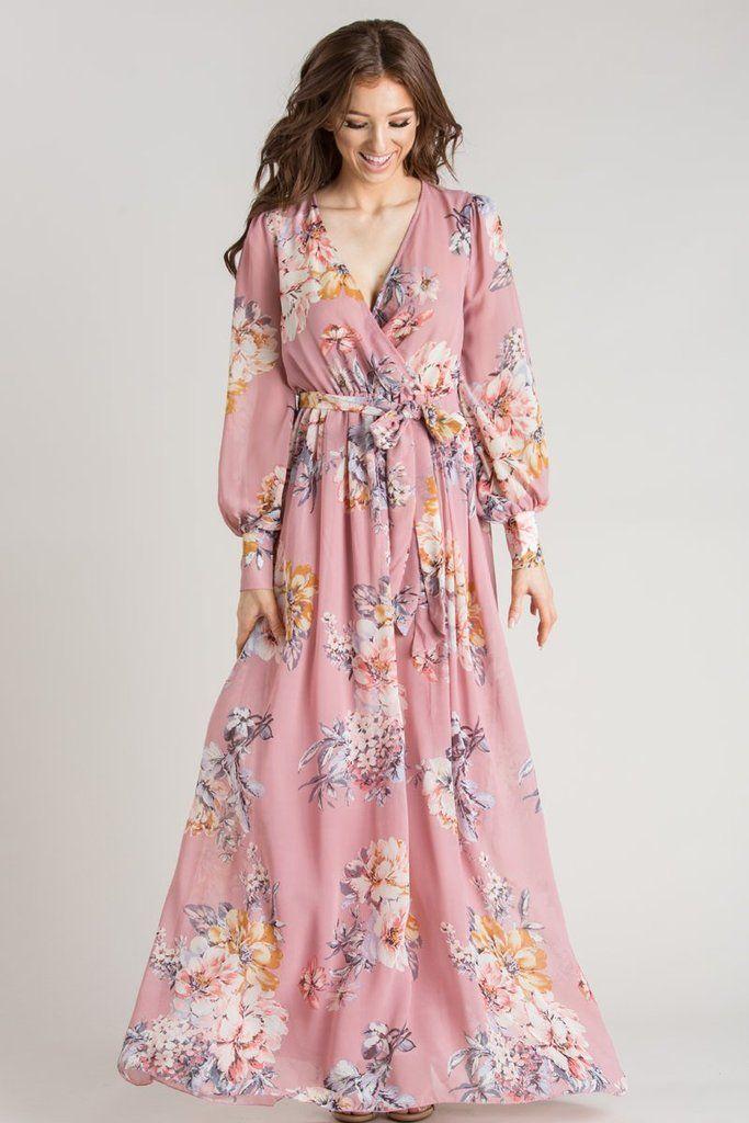 Kathleen Mauve Floral Maxi Dress