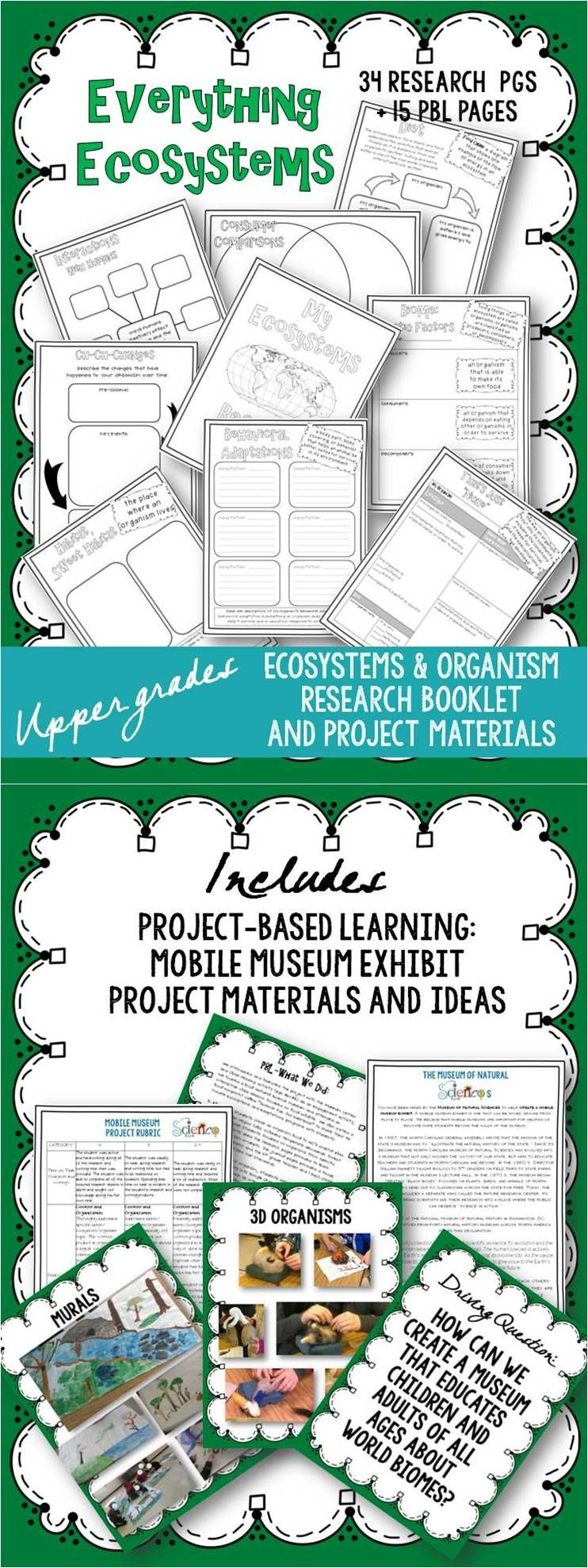 "RESEARCH BOOKLETS/PROJECT BASED LEARNING: I created this set of Ecosystems research/notebook pages because nothing I found when searching for ""animal research projects"" really fit my needs for upper elementary students and our curriculum. These materials provide students with lots of opportunities to illustrate and create diagrams (as well as record factual information and details about habitats, ecosystems, and organisms)."