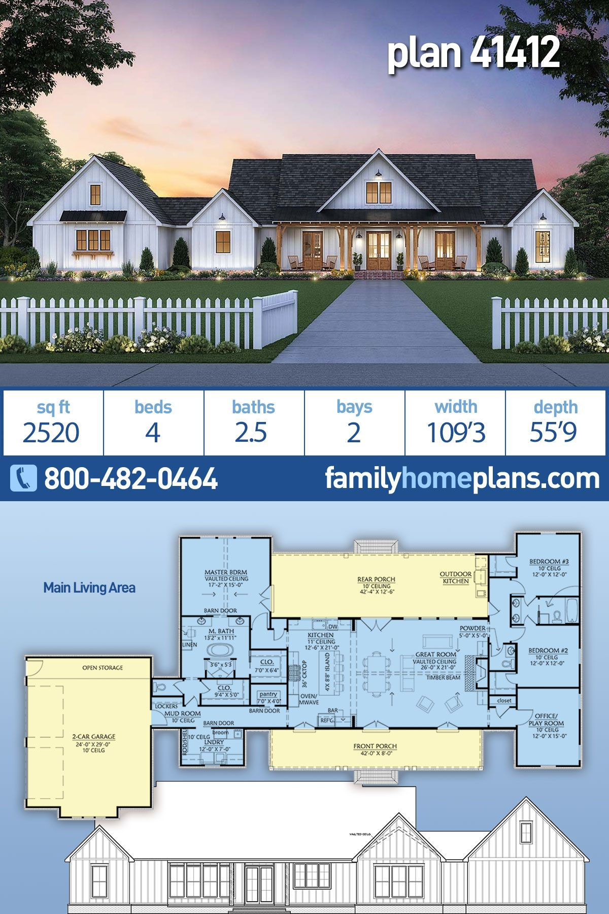 Country House Plan #41412 is 2520 Sq Ft, 3 Bedrooms, 2.5 Bathrooms and an Outdoor Kitchen