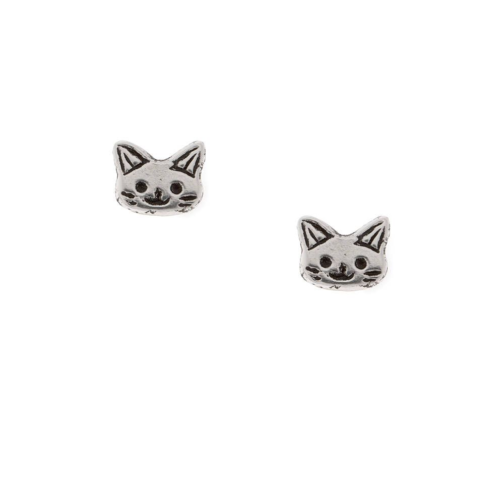 Sterling Silver Cat Stud Earrings  Claire's