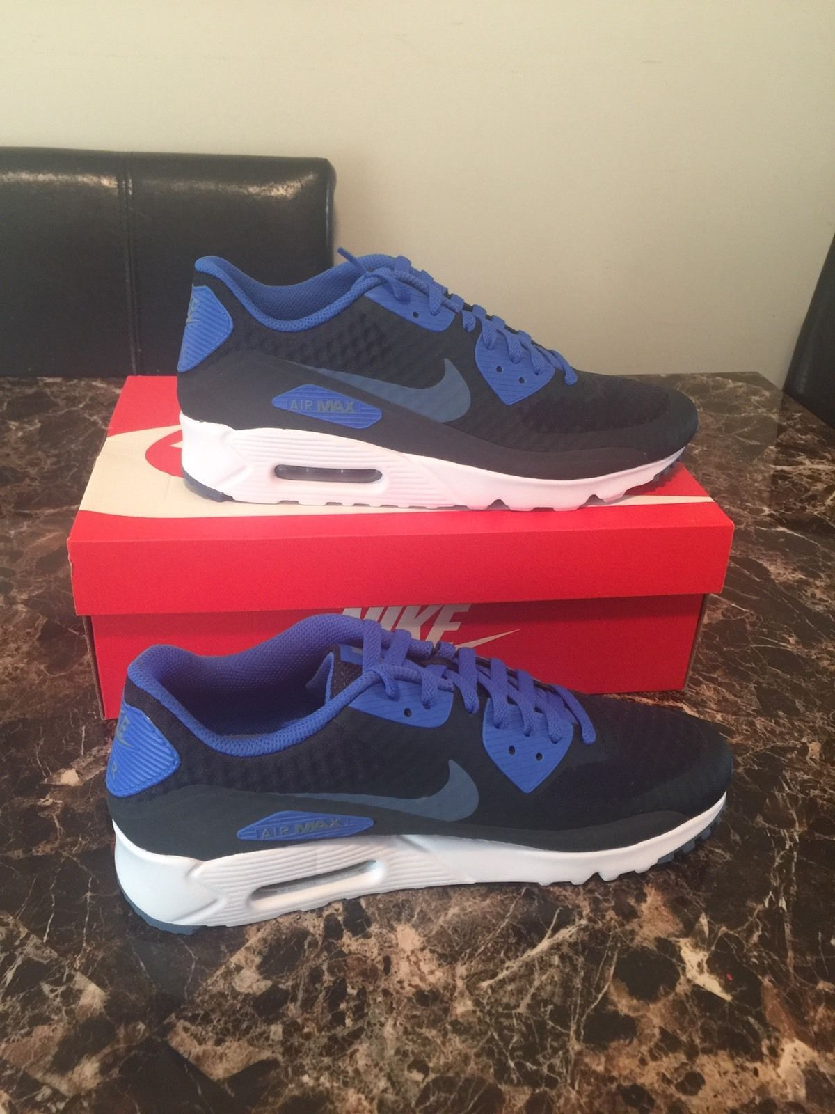 NIKE AIR MAX 90 ULTRA ESSENTIAL SHOES BLUE 819474 405 MENS SIZE 10