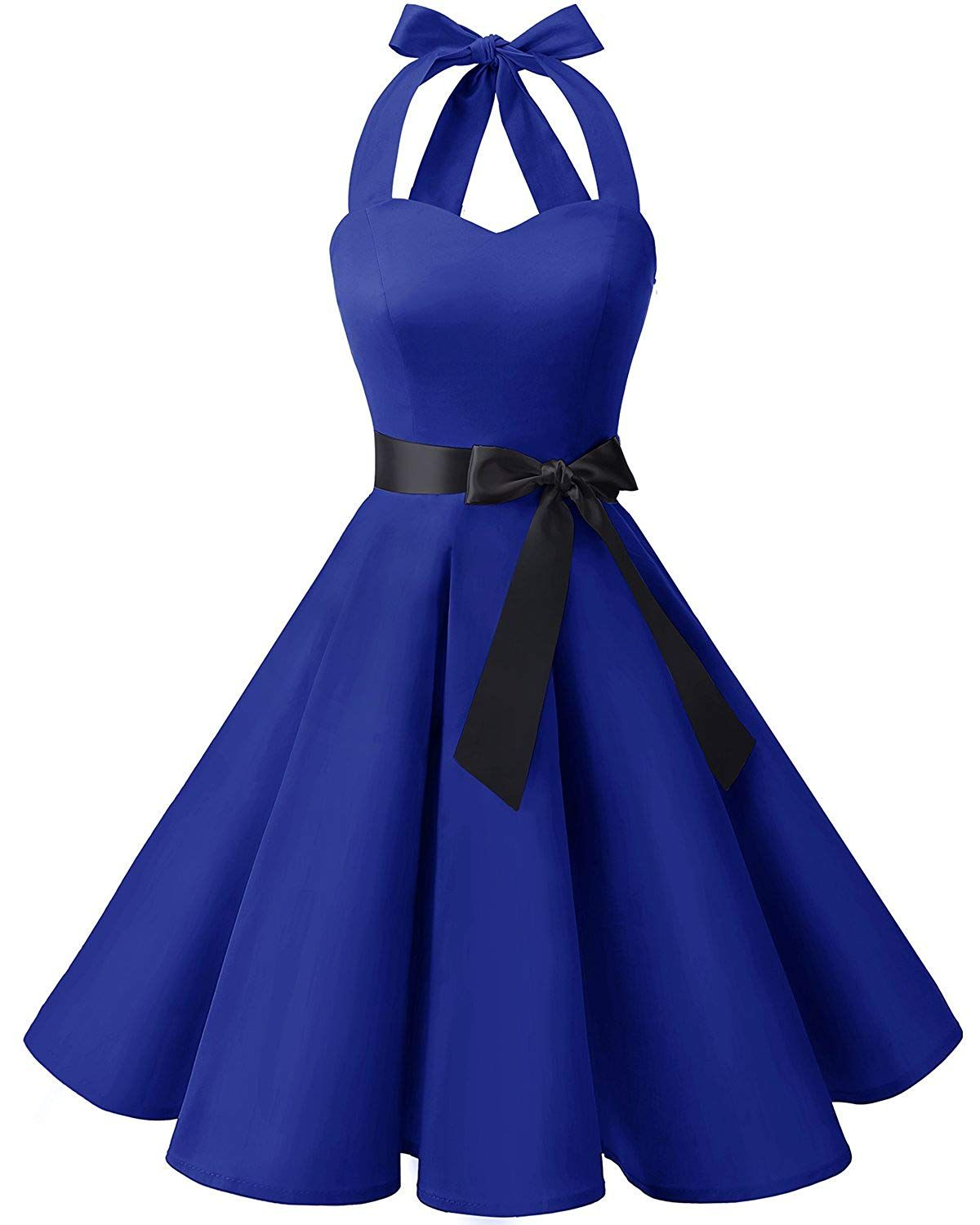 Amazon.com  Bridesmay Women 50 s Vintage Rockabilly Halter Swing Cocktail  Party Dress Royal Blue 3XL  Clothing 2b47fc033175