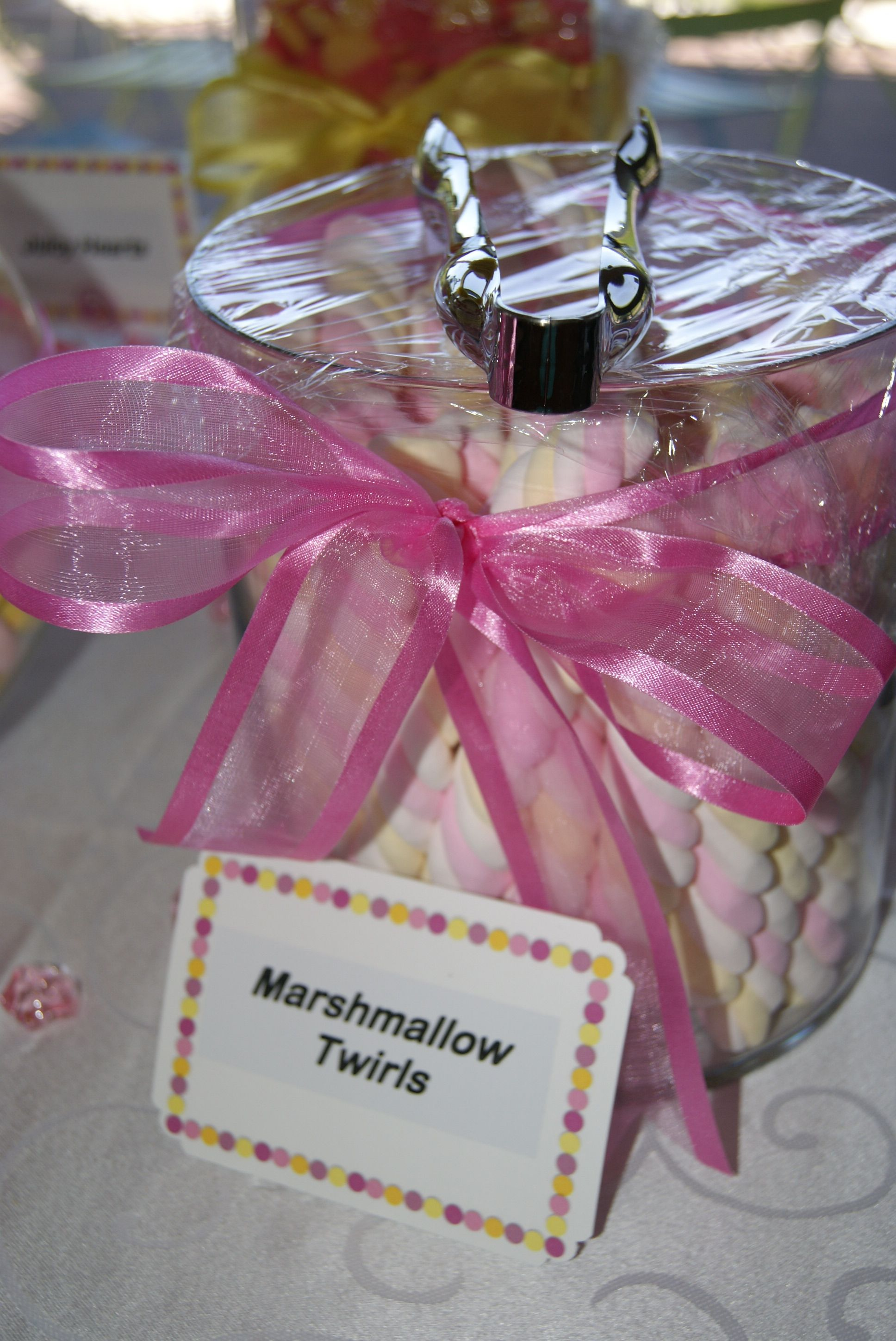 Pink & Yellow Baby Shower - Dessert / Sweets Table - Marchmallow ...