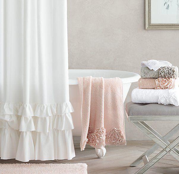 Frayed Ruffle Shower Curtain Little Girl Bathrooms