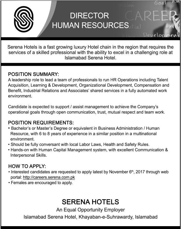 Serena Hotels Jobs 2017 In Islamabad For Director HR    www - director of development job description