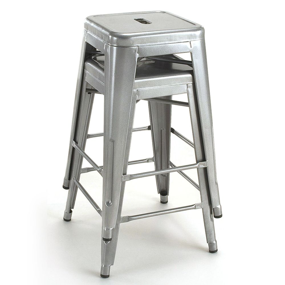 Tabouret 24 Inch Metal Counter Stools Set Of 2 Silver