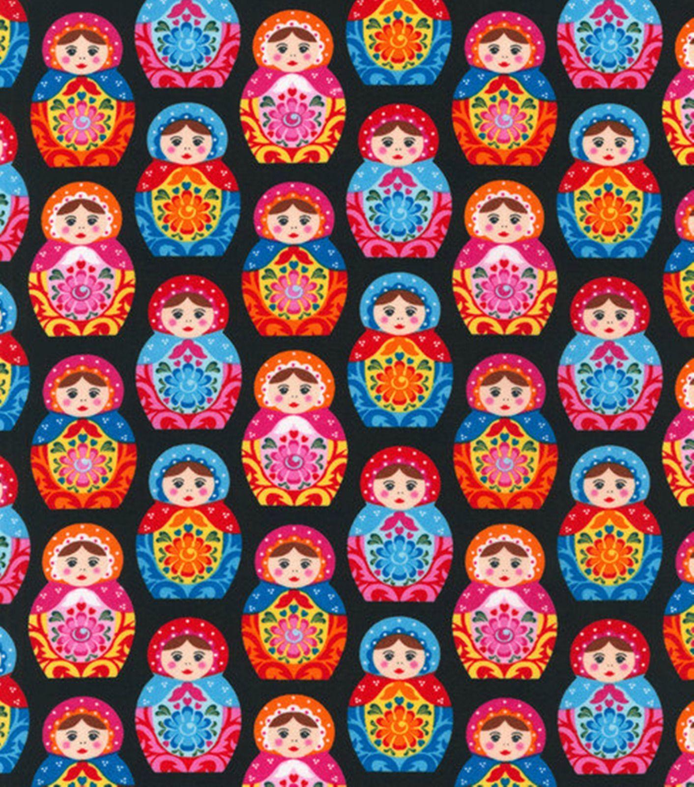 Matryoshka Babushka Russian Nesting Dolls Fabric Yard In