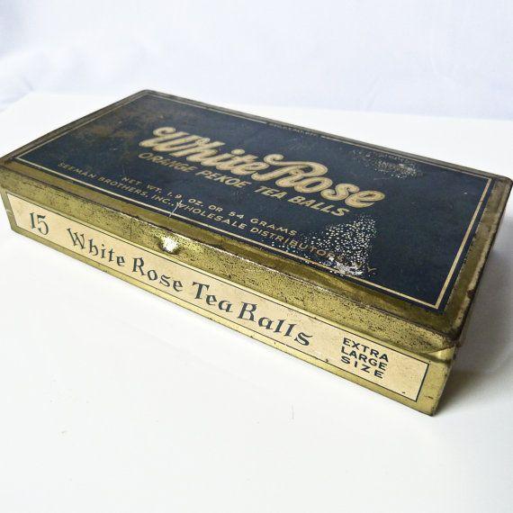 Vintage White Rose Orange Pekoe Tea Balls Tin Metal Tea Tin Orange Pekoe Tea Tea Tins Tea Tin Boxes